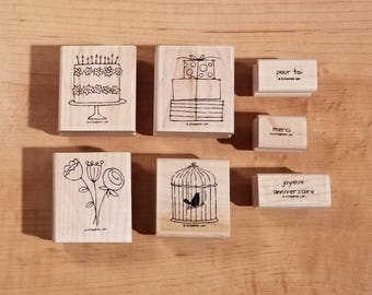 Stampin' Up Retired Set - Bons moments - Rubber Stamp Set of 7 - RS-028