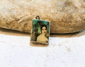 just like a vintage book... ceramic pendant - retro vintage deer woman, forest animals, owl, squirrel, green supply, components, handmade