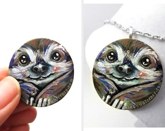 Cute Sloth Necklace, Hand Painted Wood Jewelry, Wildilfe Art, Original Painting, Nature Lover Gift for Her, Circle Pendant, Baby Animal