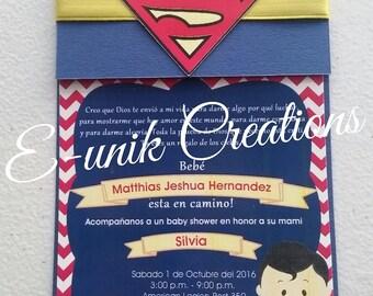 Superman Baby Shower Invitation-Handmade Invitation-Baby Superman