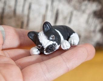 French bulldog animal totem - Polymer clay animal OOAK figurine, talisman, amulet, dog, pet
