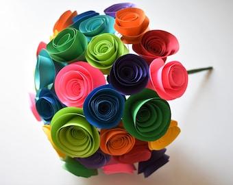 Rainbow Paper Flower Bouquet, Colorful Paper Flowers