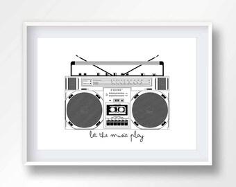 BOOMBOX poster, vintage boom box, 80s music illustration, retro stereo, old school cassete, hip hop printable, ghettoblaster, #2144