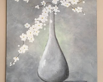 Standing Tall - White Flowers in Gray Vase - Gray and White Texture Gel Medium Palette Knife Painting