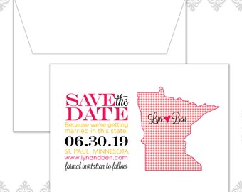 MN State Save the Date (available in all U.S. states), custom state save the date, plaid and gingham pattern, save the date, Minnesota,