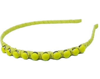 Headband beaded /headband - yellow