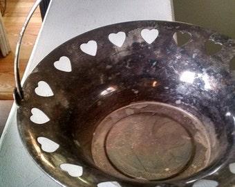 Silver Basket/Vintage Heart Basket/Flower basket/Vintage silver