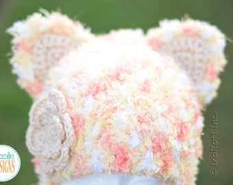 Super Soft Kitty Cat Hat With Flower READY to SHIP for Child Size