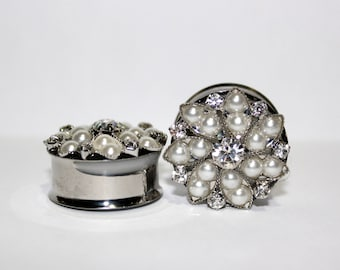 """Snowflake Queen Crystal and Pearl Wedding Plugs 7/8"""" 22mm"""