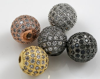 8mm Cubic Zirconia Rhinestone Pave ROUND   3 colors