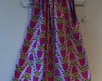 Pink & Purple Flower Pillowcase Dress- 24 Months