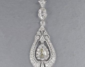 Stunning Edwardian G VVS diamond pendant necklace