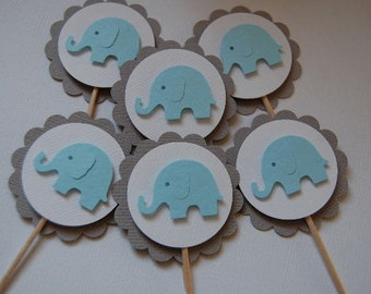 Grey, White and Baby Blue Elephant Cupcake Topper Picks--Set of 6-Baby Shower-First Birthday-Boy-Party Picks-Baptism--Ready to Ship