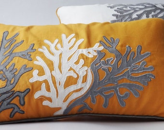 mustard coral reef pillow cover long boudoir pillow. mustard gray and white decorative nautical pillow cover. 12X22 on sale 30 % discount