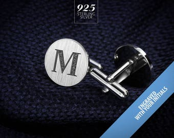 Initials Cufflinks – Monogrammed Cufflinks – Sterling Silver Cufflinks engraved – Wedding Cufflinks