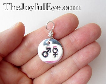 Male and Female. Christian hand stamped charm in fine silver.  Christian jewelry.  Inspirational hand stamped charm.