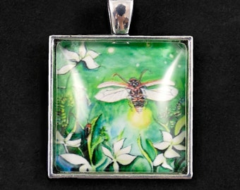 Firefly - Pendant - Domed glass and lightening bug