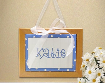 Personalized Framed Name Tile for Little Girls : Blue Polkadot with Organza Ribbon