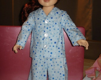 Blue polka dot flannel pajamas and slippers for 18 inch Dolls - ag60