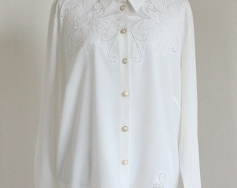 White 70's Blouse with transparent flower details