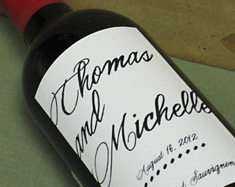 Custom wedding wine labels - Personalized with Elegant Script