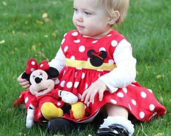 Minnie Mouse Dress / Baby Infant  Dress / Girls/Toddler Dress / Red and White Polka Dot / Lined Dress / Red Minnie Mouse