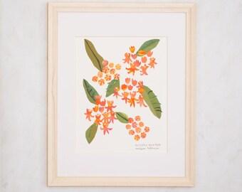 Art Print of Original Wildflower Collage- Butterfly Milkweed Wildflower