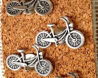 Bike Decor- Bike, Bicycle, Bike Office, Thumbtack, Silver Plated Bicycle, Bike Gift, Bicycle Gift, Push Pin, Cork Board, Bicycle Office Gift