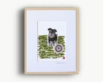 Miniature Schnauzer Terrier Art, Newspaper Art, Schnauzer Gifts, Schnauzer Print, Ready to Frane