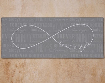 Personalized Infinity Symbol Wall Canvas Print Gift For Couple Art