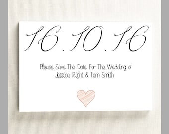 10 x Personalised Wedding Save The Date Invitation Cards A6 With Envelopes.