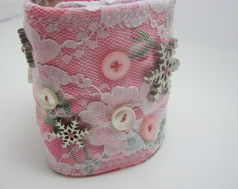 Steampunk Pink Lace Snowflake Buttons  Winter Fabric Bracelet Cuff-Gift