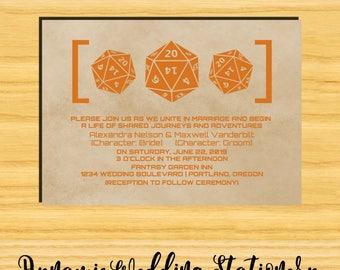 Grunge D20 Dice Gamer DIY Digital Printable Wedding Invite