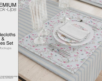 Table linens Mockup | Tablecloth Mockup | Table Runner | Table Napkins | Dining room Textile Mockup | Plate Mockup