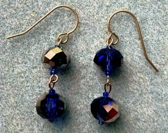 Cobalt blue and silver faceted rondelles