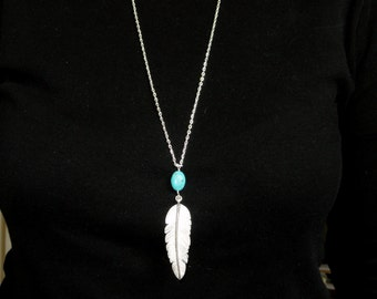 Silver feather & turquoise necklace, Silver boho necklace, Long silver feather necklace, Layer necklace, Bohemian necklace, Gifts