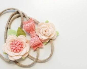 Blush coral, nylon headband, baby accessories, floral headbands, vanaguelite, baby girl, baby bows, newborn headband.