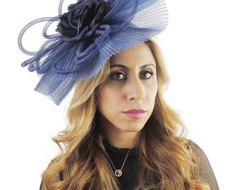 Devils Navy Blue Fascinator Hat for Weddings, Races, and Special Events With Headband(20 colours)