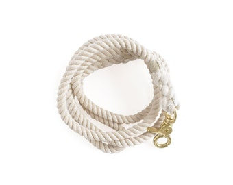 100% Cotton Rope Dog Leash: White