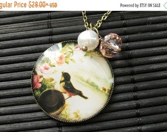 MOTHERS DAY SALE Singing Bird Charm Necklace in Bronze with Pink Crystal and Genuine Pearl Charm. Handmade Jewelry.