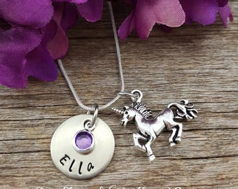 Unicorn Necklace with name plate and birthstone - Daughter necklace, sister necklace. little girl necklace, grand daughter necklace, Unicorn