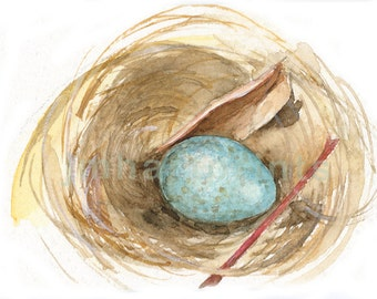 Watercolor Bird Nest, Bird Nest Print, Nest with Egg Painting, Painting of Nest