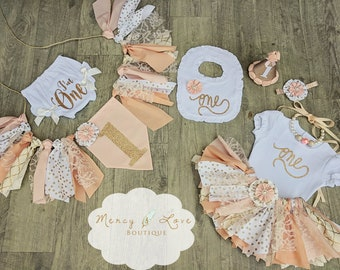 "The ""Peaches n Cream"" Collection.Peach Gold, Tutu,girl 1st Birthday,Cake Smash outfit,First Birthday Girl,Birthday Outfit,High Chair Banner"