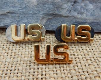 WWII  U.S. Army Collar Insignia Pins  ~  Authentic U.S. Military Insignia Pins