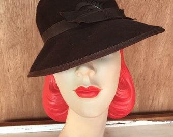 1930s original dark brown felt hat