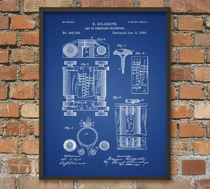 First Computer Patent Print Computer Wall Art Poster