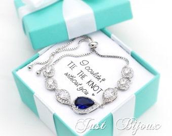 Wedding Bracelet Platinum plated Navy Zirconia Bracelet Wedding Bracelet blue Bracelet Bridal Bracelet Something blue Bridesmaid Gift