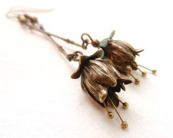 Flower Dangle Earrings, Petal Earrings, Tulip Flower, Flower Fairy, Art Nouveau Earrings