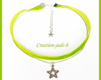 Choker necklace / Choker with Star Green