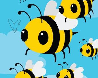 BEES! - Medium or Small Art Print